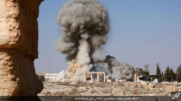 Pictures show the destruction of the TempleofBaalshamin,Palmyra
