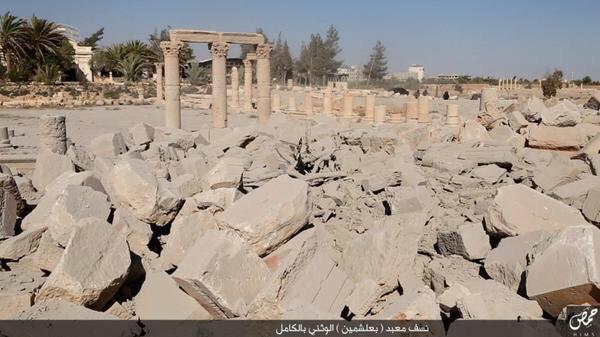 Pictures show the destruction of