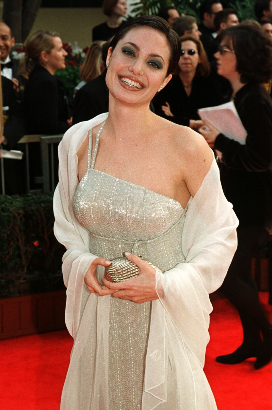 Angelina Jolie arrives at the Golden Globes