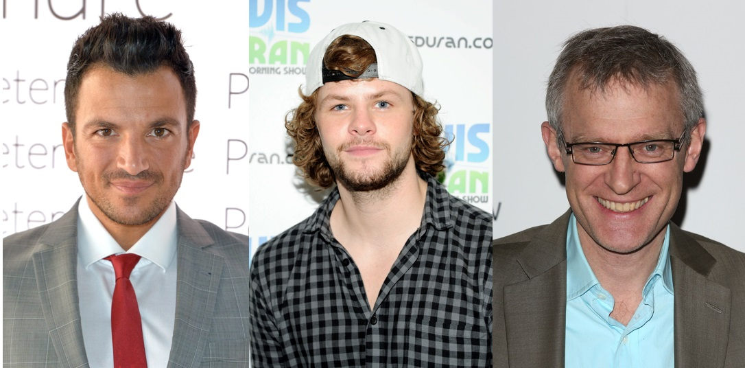 Peter Andre, Jay McGuiness and Jeremy Vine