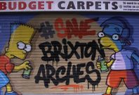 Save Brixton Arches Campaign painted shutters