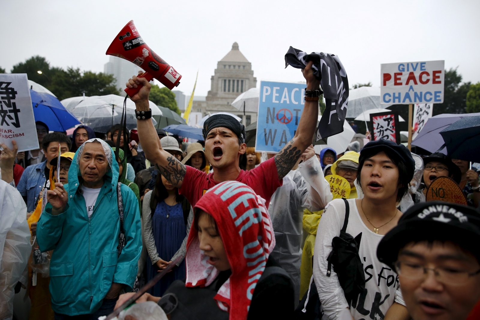 Japan protest against military powers