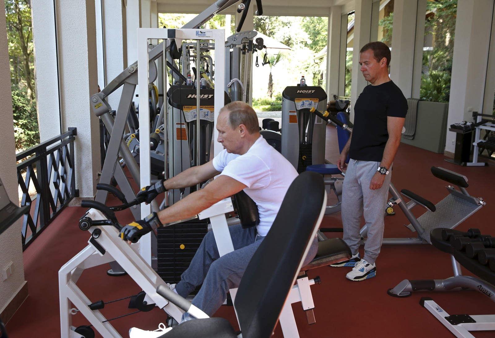 Putin and Medvedev in gym