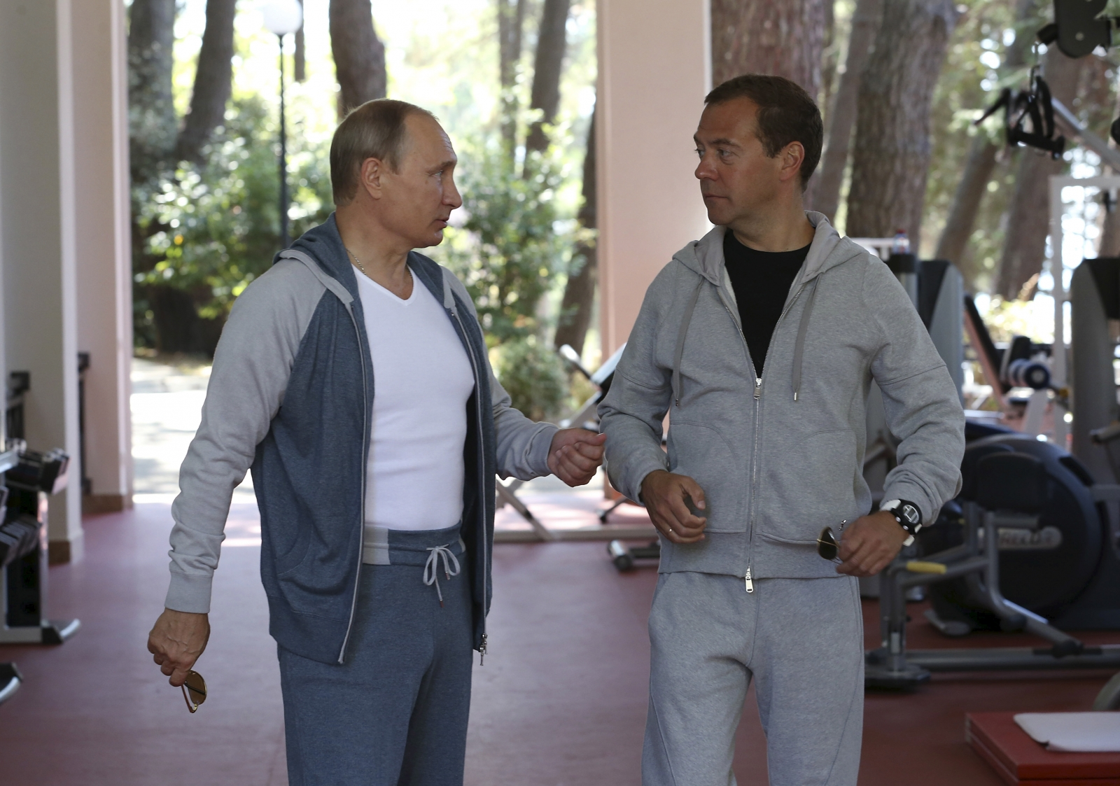 Putin and Medvedev in the gym