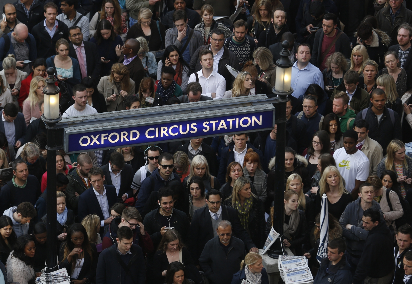 Commuters at Oxford Circus station