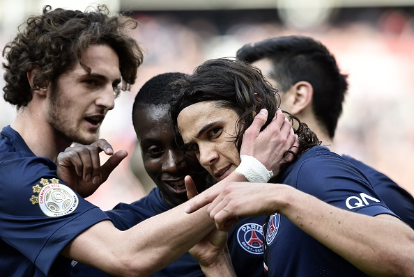 Edinson Cavani and Adrien Rabiot