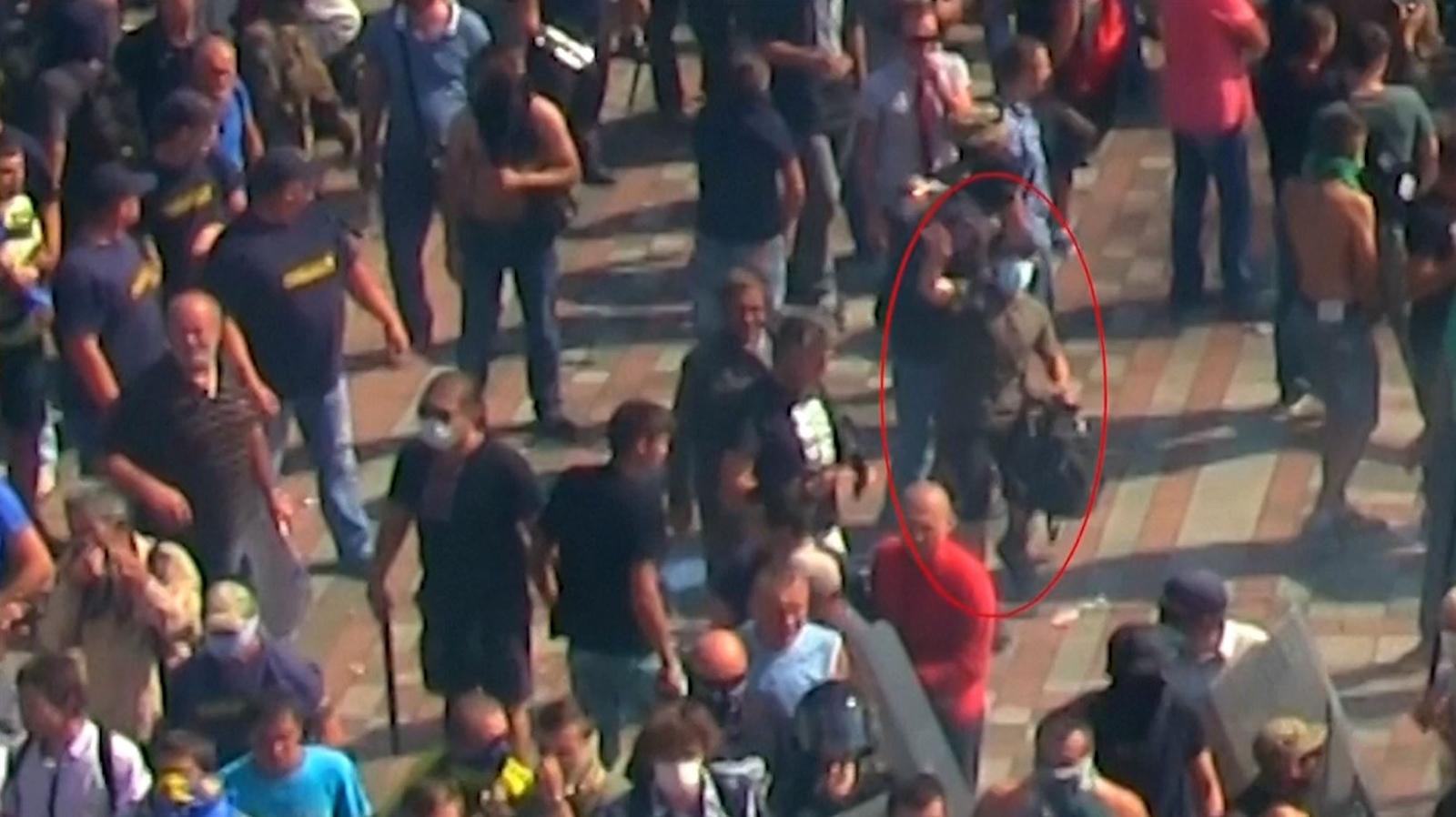 Suspected grenade thrower CCTV