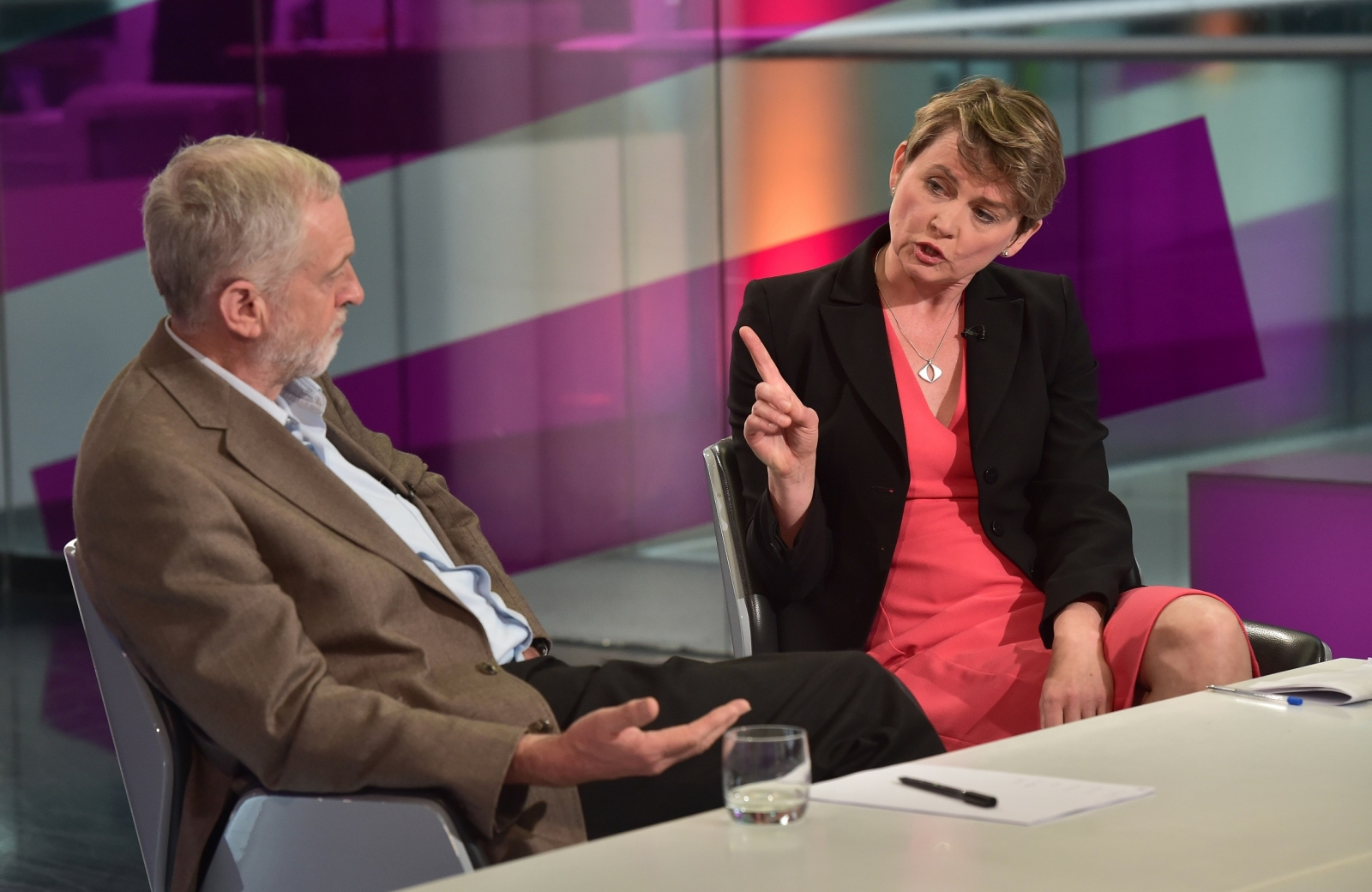 Jeremy Corbyn and Yvette Cooper