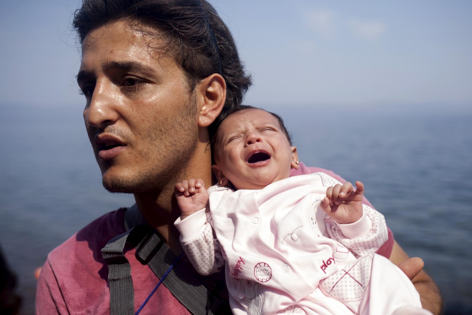 Syrian refugee arrives in Greece