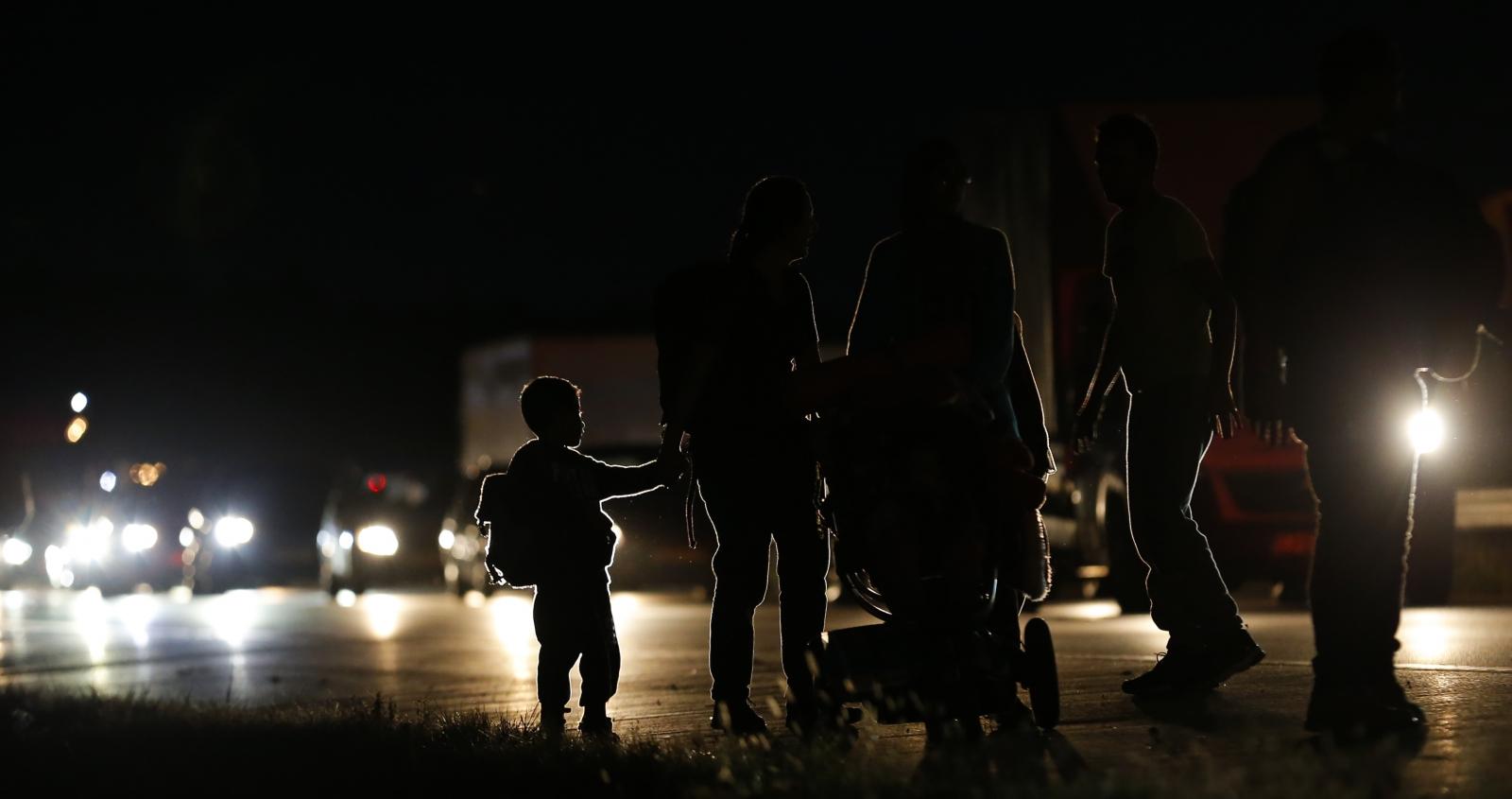 Migrants Hungarian motorway