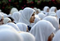 Schoolgirls wearing hijabs