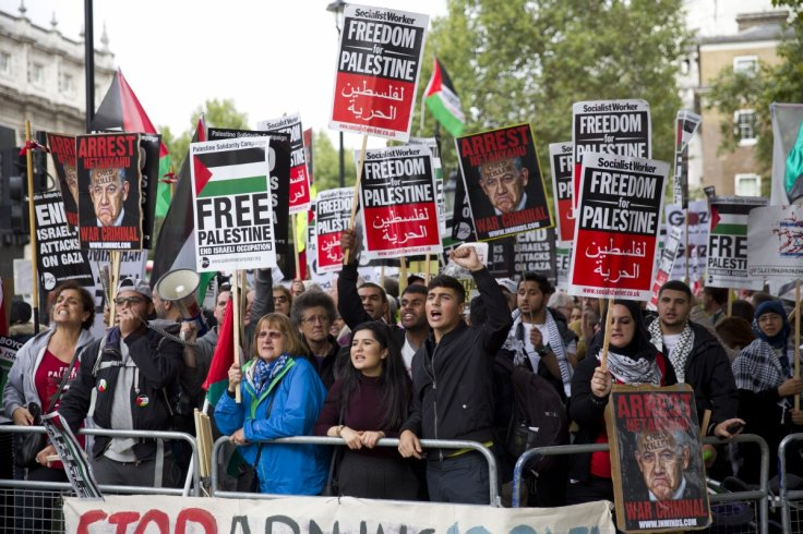 Pro-Palestinian demonstrators shout slogans as