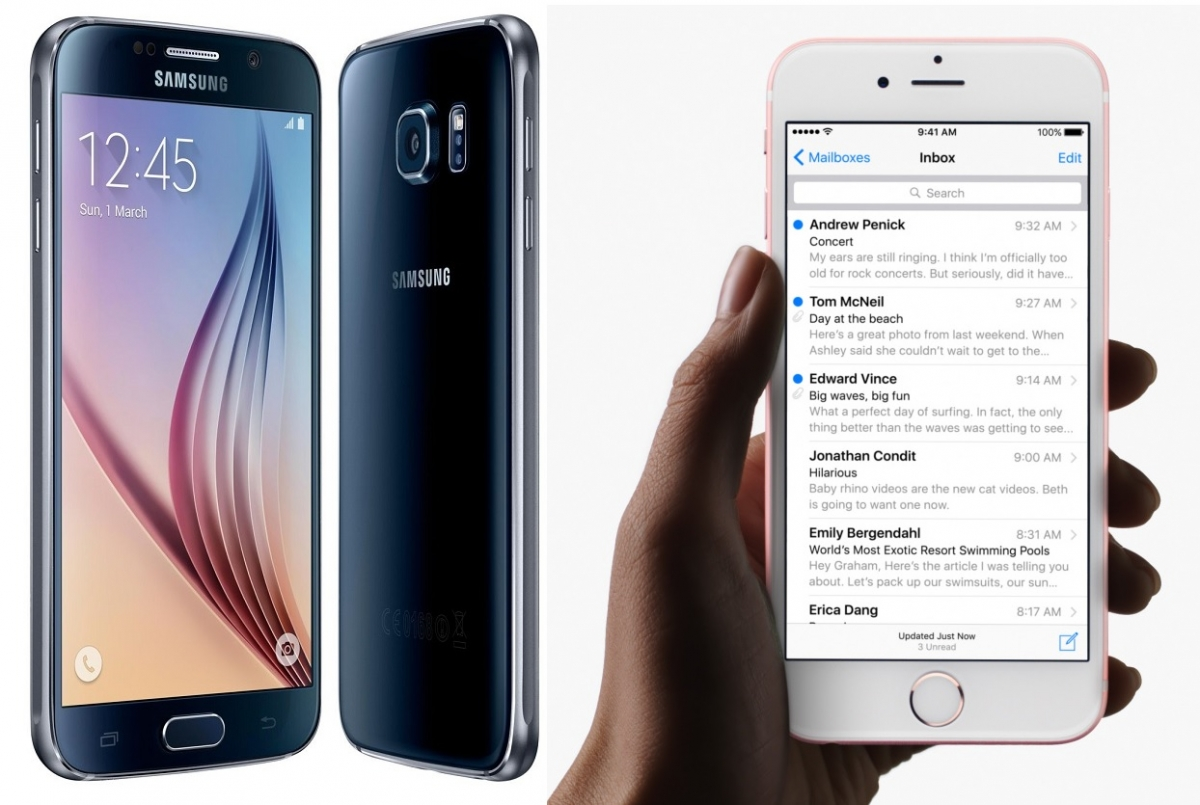 iphone vs smartphone iphone 6s vs samsung galaxy s6 which flagship smartphone 12455