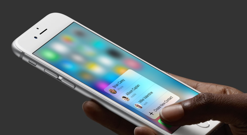 iPhone 6s with 3D Touch displaqy