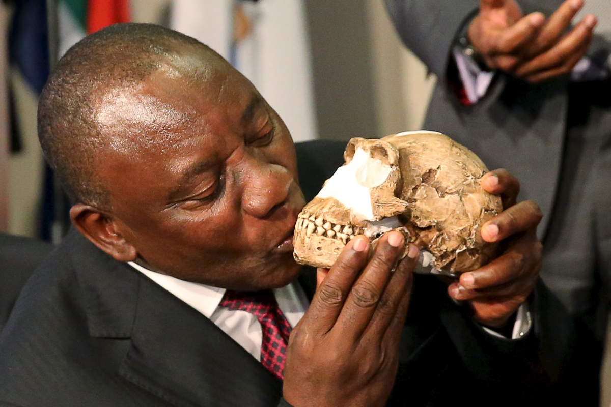 Cyril Ramaphosa and skull