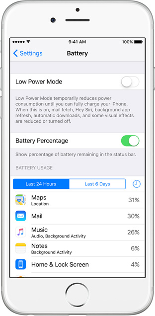 iOS 9 Low Power Mode