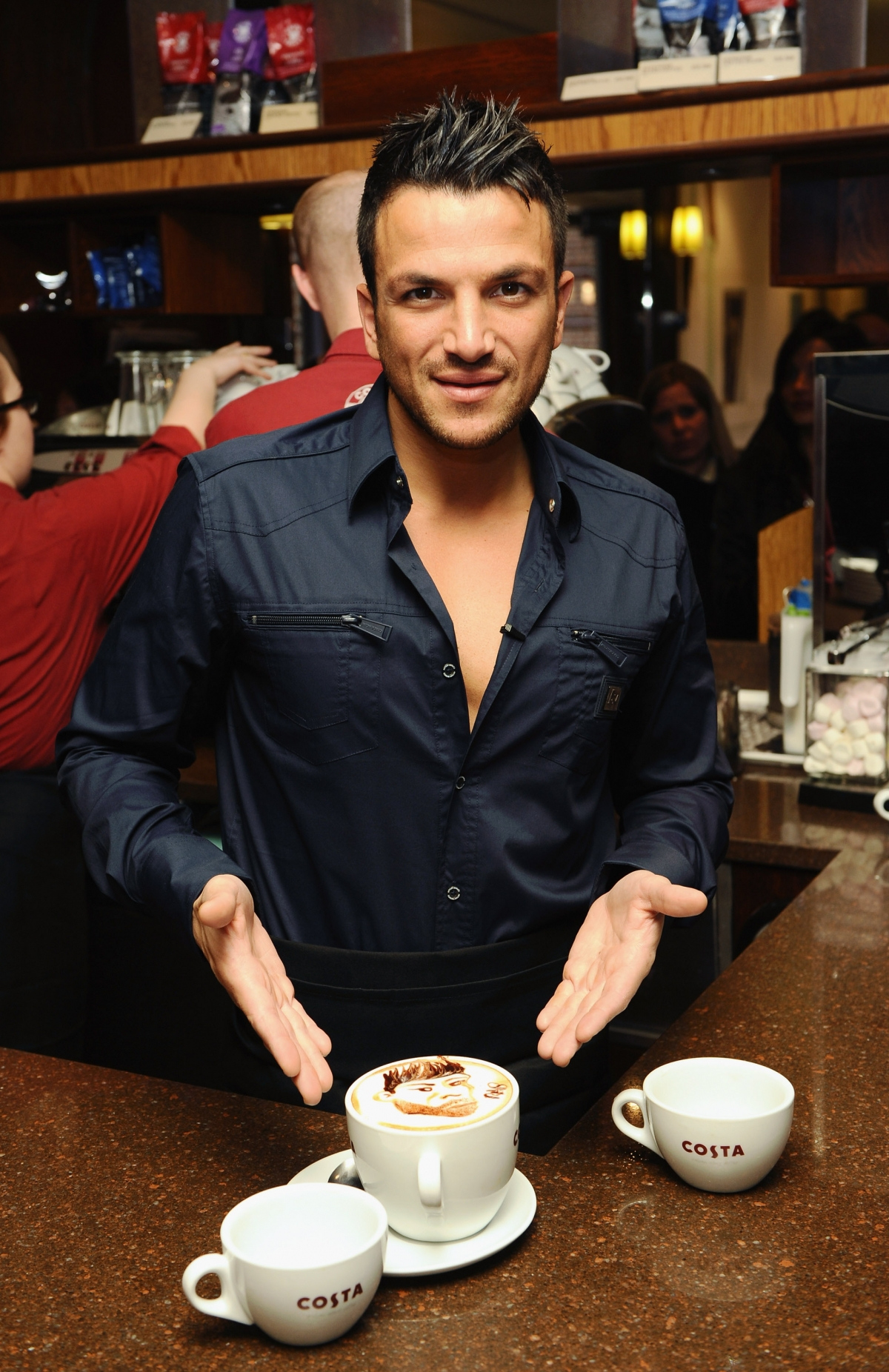 Peter Andre at Costa Coffee