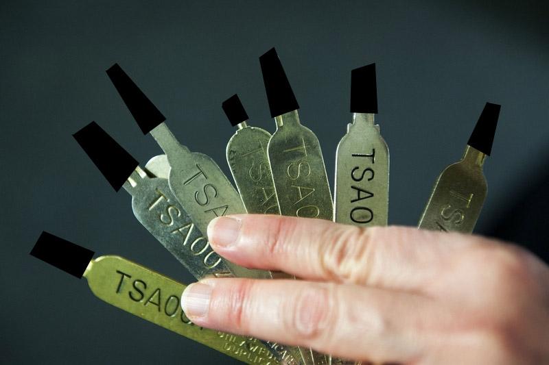 A redacted image of the TSA keys