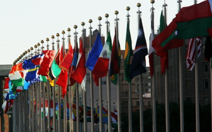 Flags fly outside the UN headquarters inNewYork