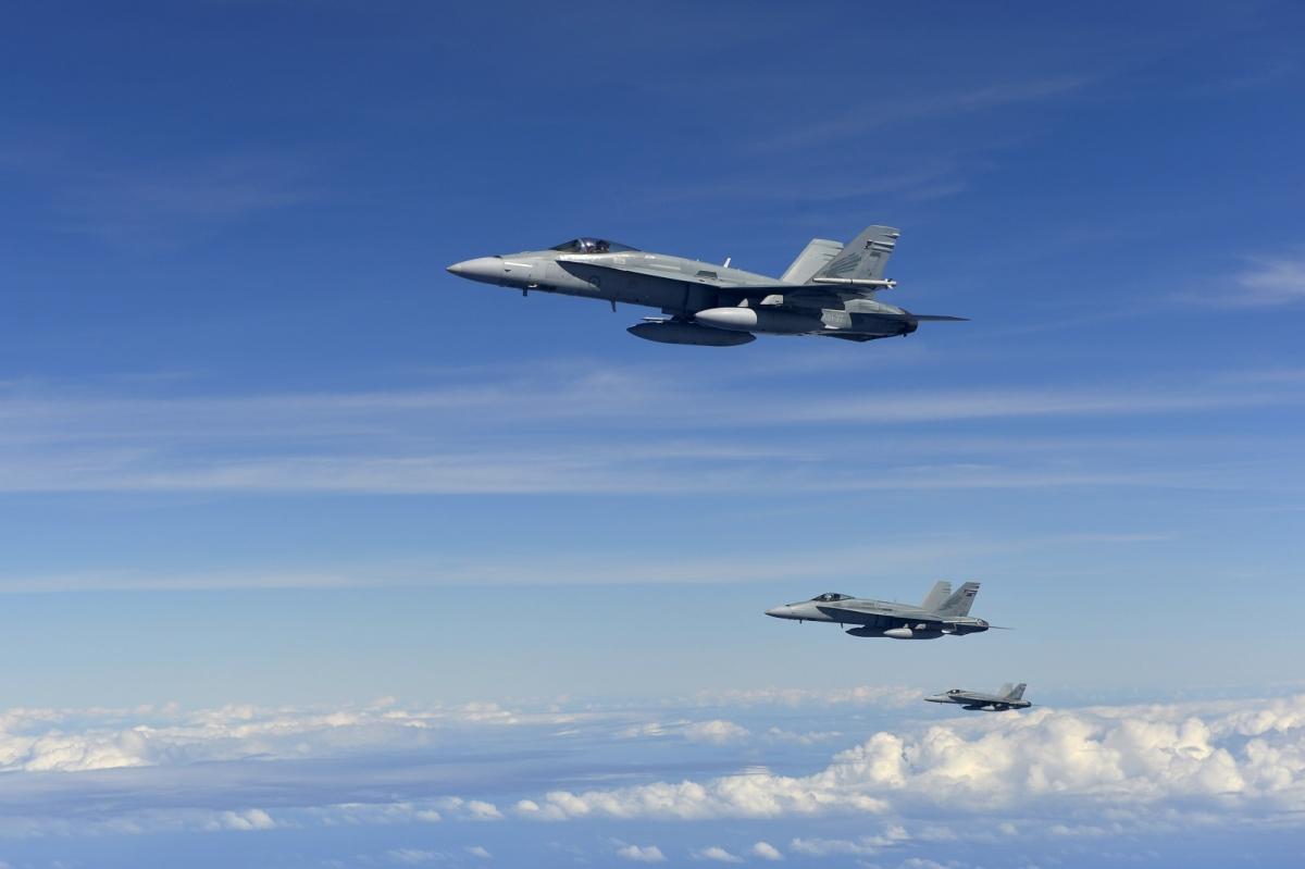 RAAF F18 Hornets military jets