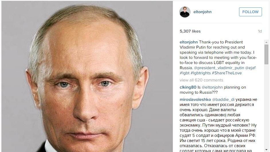 Elton John's Instagram post on Vladimir Putin