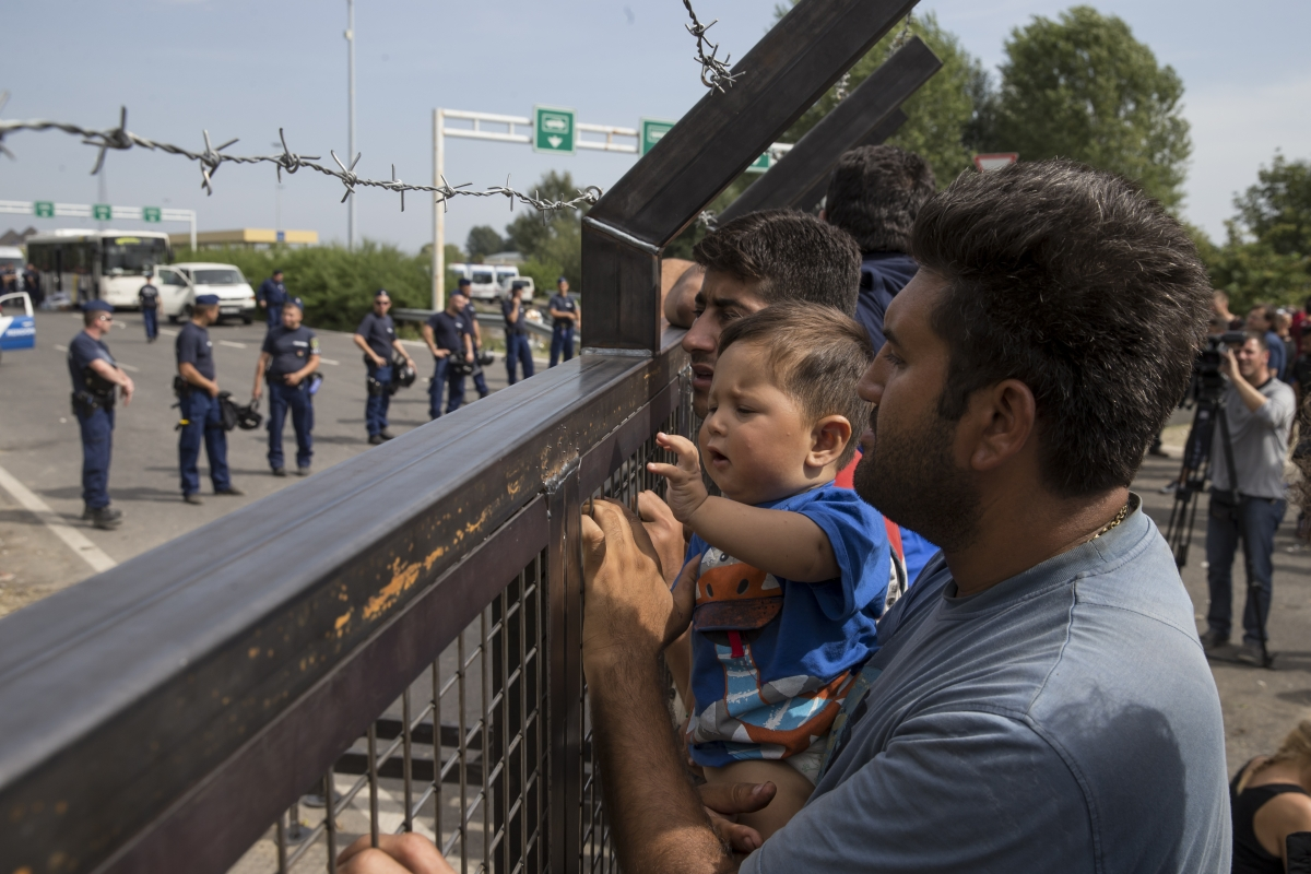 Refugees stranded at the Serbian- Hungary border