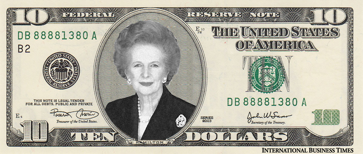 Margaret Thatcher on the new $10 note