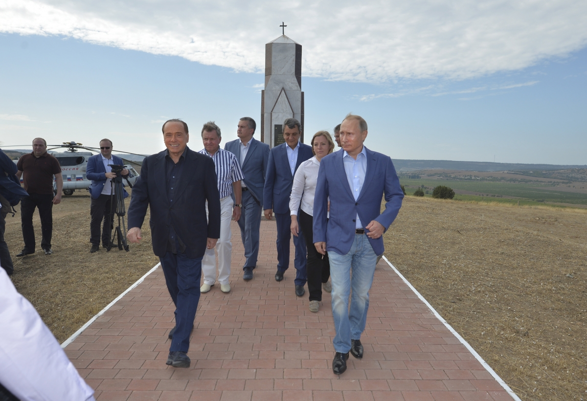 Putin and Berlusconi in Crimea