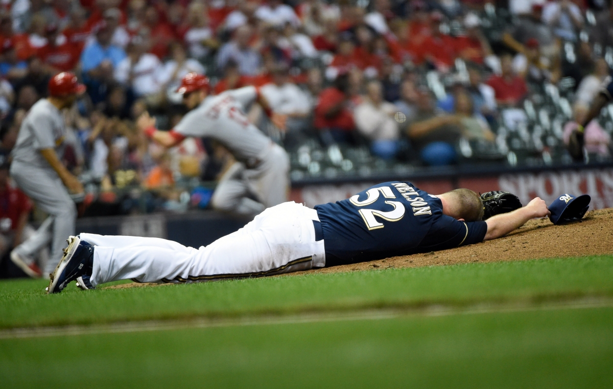 Jimmy Nelson floored by ball