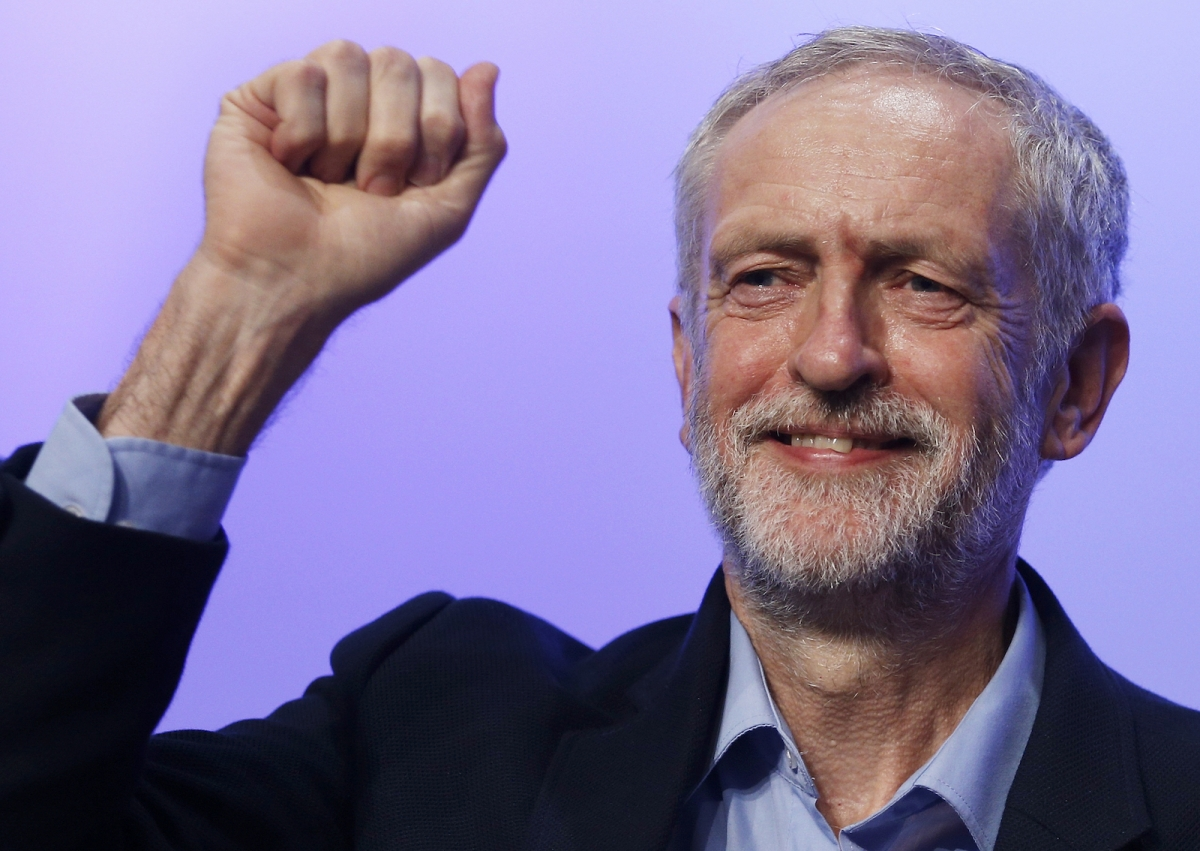 Jeremy Corbyn TUC conference September 2015 gesture
