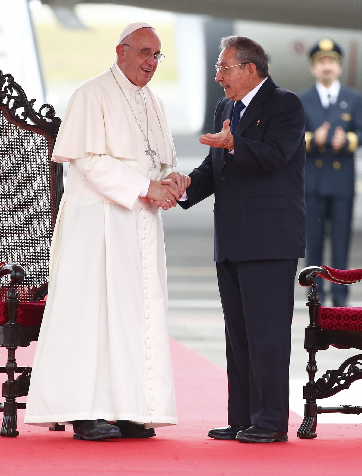 Pope Francis with Raul Castro