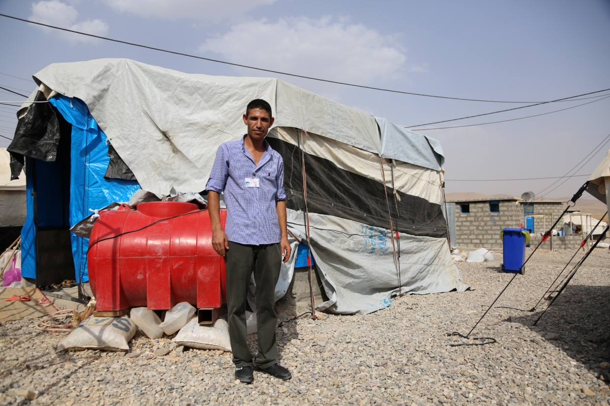 Displaced Yazidis living in camp in Iraq