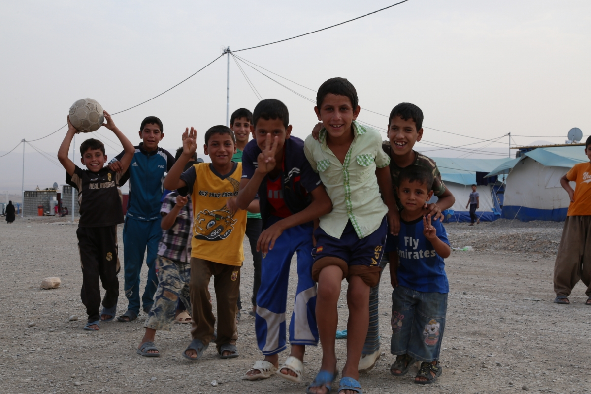 Yazidi children living in Ashti IDP camp