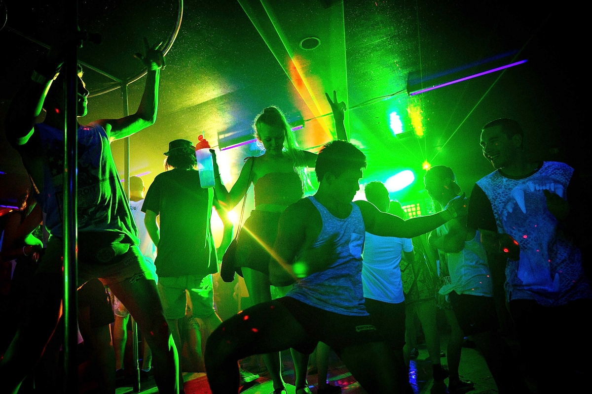 A nightclub with young people partying