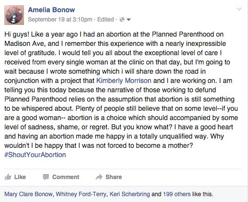 Amelia Bonow's post about #ShoutYourAbortion`