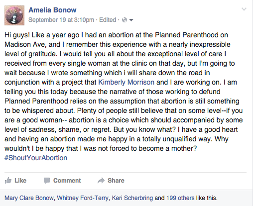 Amelia Bonow's post about #ShoutYourAbortion`