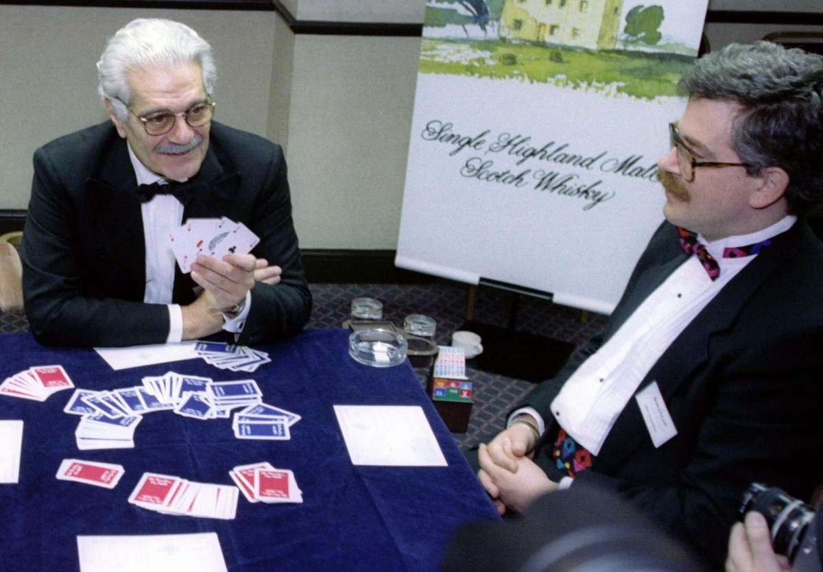 Omar Sharif playing bridge