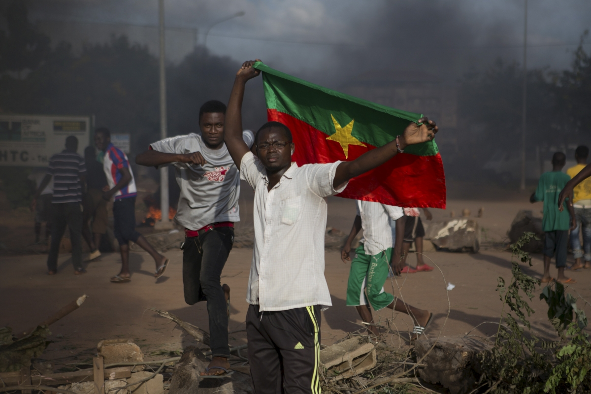 Anti coup protesters in Burkina Faso