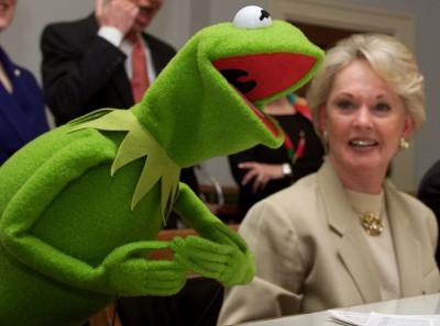 Tippi Hedren and Kermit
