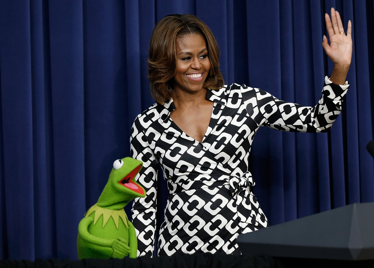 Michelle Obama and Kermit the Frog
