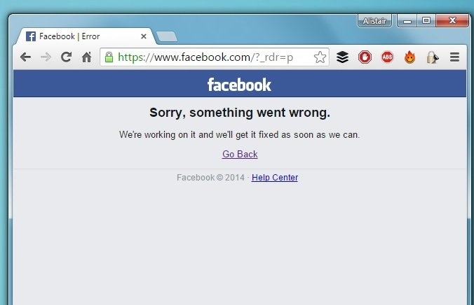 Facebook down error message