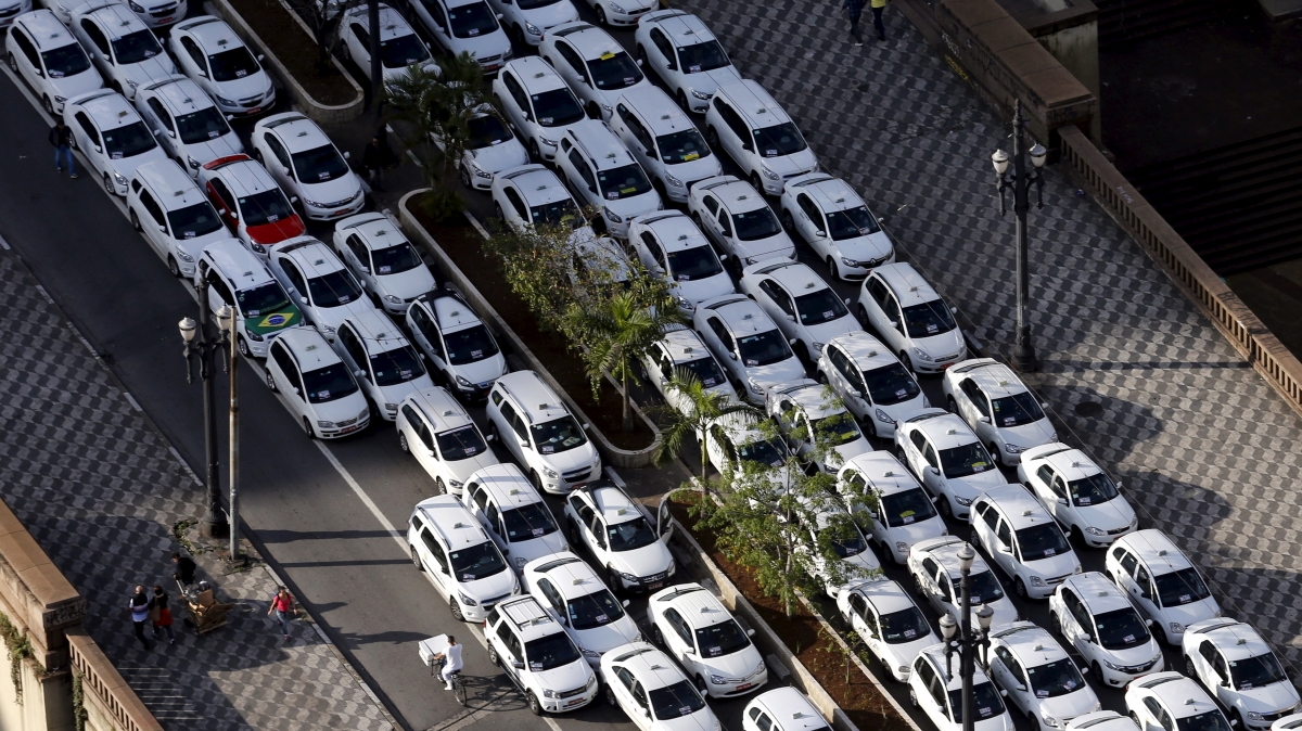 Taxi drivers protest,