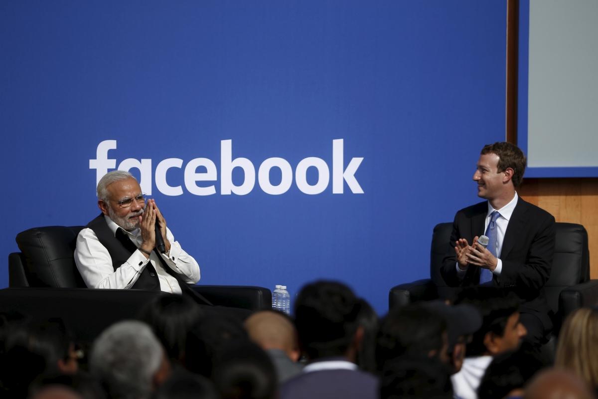 Indian PM Narendra Modi and Mark Zuckerberg