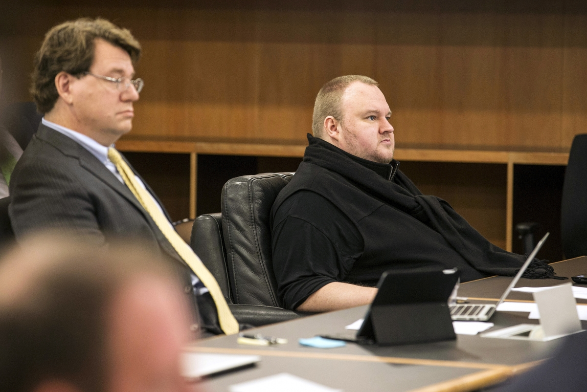 Kim Dotcom in court with Ira Rothken