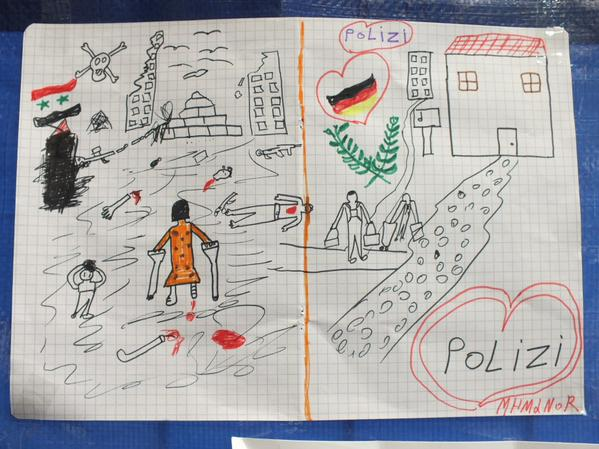 Syrian refugee girl drawing