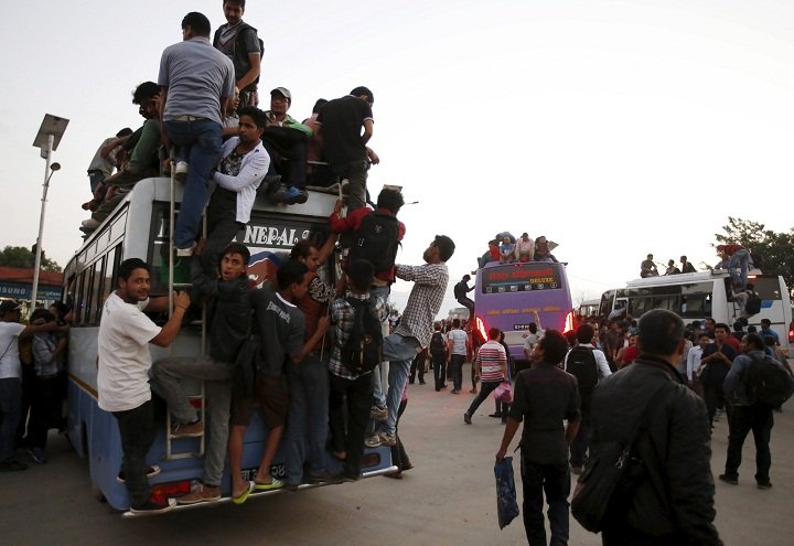 Overcrowded buses in Nepal
