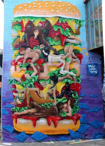Kama-Sutra Burger Makatron Melbourne Mural