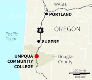 Umpqua Community College shooting map