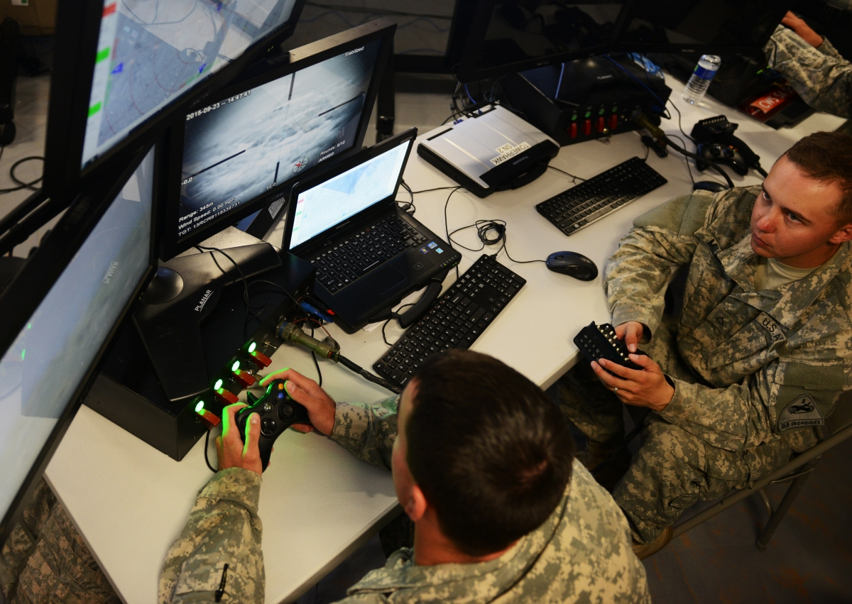 Soldiers man the tactical operation centre