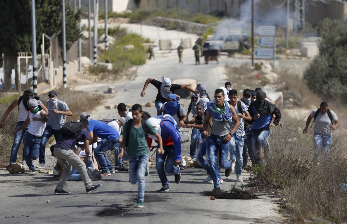 Palestinian protesters clashes West Bank